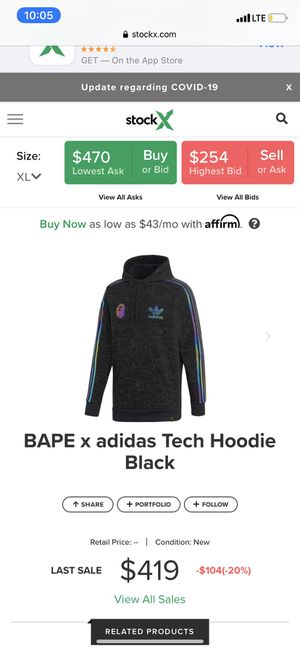 Bape adidas hoodie for Sale in Lancaster, PA