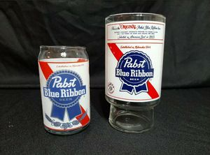 VINTAGE PABST BLUE RIBBON 32 oz Beer Glass & Pint Can Shape Glass Set for Sale in Sioux Falls, SD