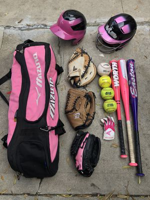 Softball equipment bat gloves helmet balls easton mizuno baseball for Sale in Culver City, CA