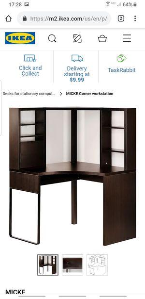 Brown/black Ikea Micke corner work station for Sale in Glen Ellyn, IL