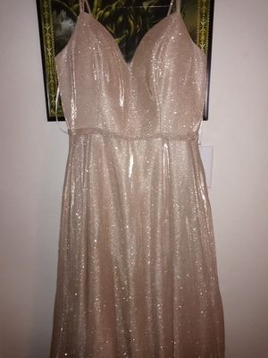 Champagne colored prom dress with matching shoes for Sale in Portland, OR