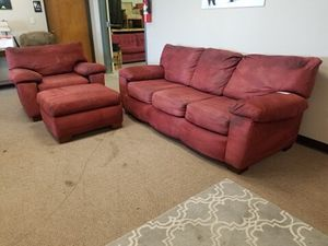 Red Microfiber Couch and Armchair Set with Ottoman for Sale in Denver, CO