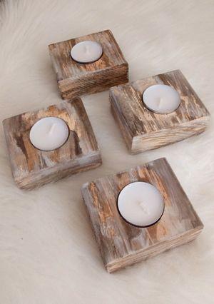 "1-1/2""H X 3-1/2""W X 3-1/4""D 🌱(4 Pcs./Set) Solid Wood Tea Light Candle Holders ::: Rustic Distressed Havana Coffee/Cream for Sale in Las Vegas, NV"