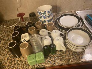 Utensils, cups, plates, bowls, shot glasses and salt & pepper shaker for sale for Sale in Oklahoma City, OK