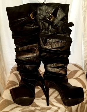 Black Patten Thigh High Stiletto Boots for Sale in Tampa, FL