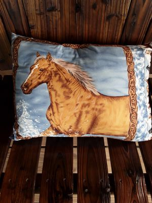 Horse pillow,,,,black horse on other side. for Sale in Linden, PA