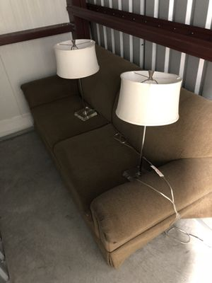 Couch with 2 lamps for Sale in Columbus, OH