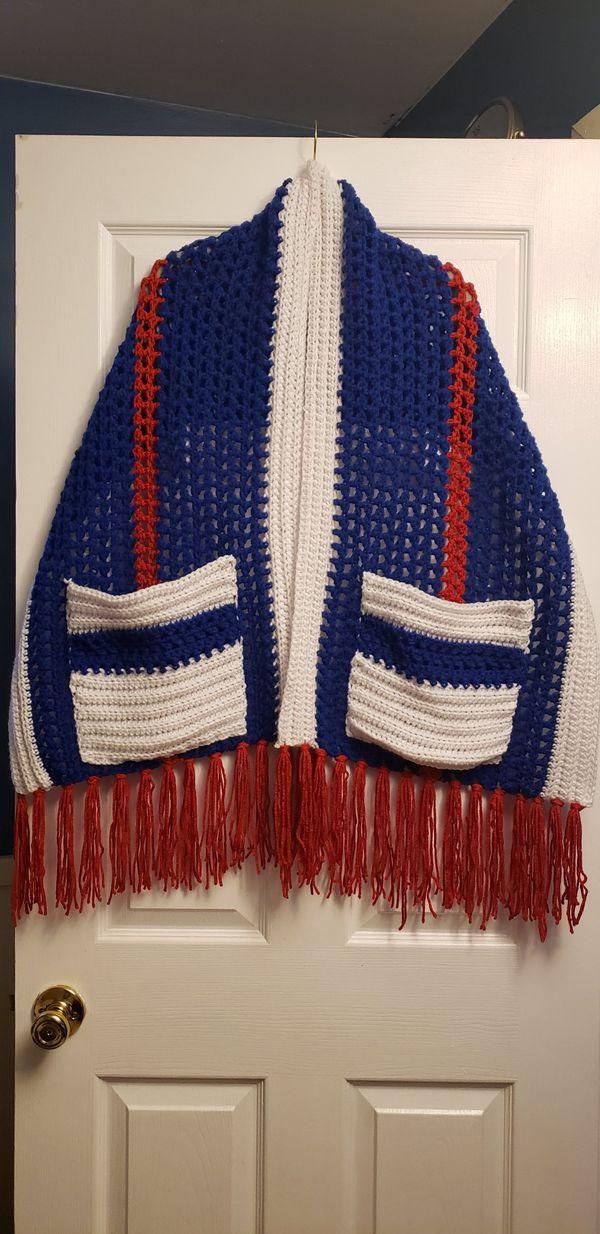 Homemade crochet shawl with pockets