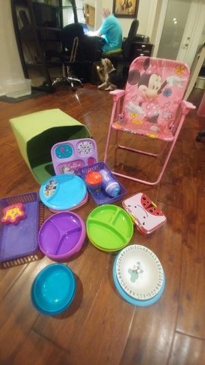 Kids dishes and Minnie Mouse chair for Sale in Bartow, FL