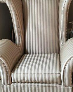 Schnadig Wingback Chair Tan Striped for Sale in Auburn,  WA