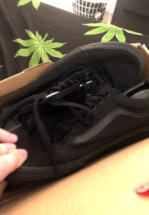 Black on black old school vans size 10.5 for Sale in Rancho Cucamonga, CA