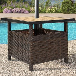 Outdoor Wicker Patio Umbrella Stand Table Accent Furniture with Steel Frame for Sale in Miami, FL