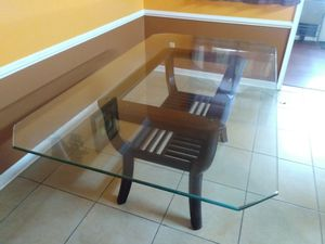 Glass Table with Brown Wood Decorative Shelf Under for Sale in Virginia Beach, VA