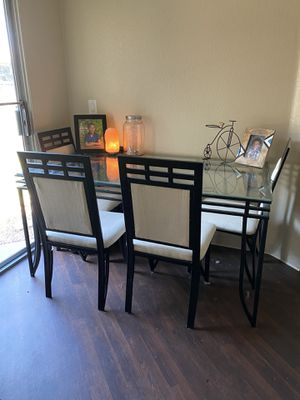Black metal kitchen table with 6 chairs for Sale in Glendale, AZ