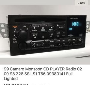 99 Camaro Monsoon CD PLAYER Radio 02 00 98 Z28 SS LS1 T56 09380141 Full Lighted for Sale for sale  Everett, WA