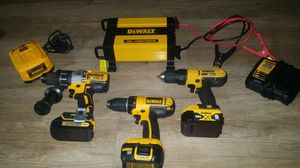 Dewalt Drill Set 20 volt XR & 18 Volt 3 Batteries 2 chargers and Power Inverter Brand new (150 in value alone) for Sale in Holladay, UT