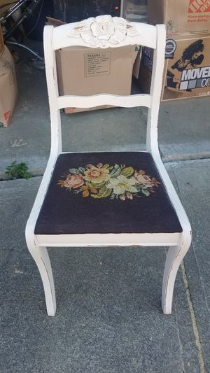 Shabby chic chair with needlepoint seat for Sale in Brooklyn, OH