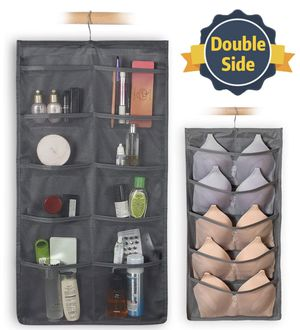 Closet & Door Hanging Organizer with Rotating Metal Hanger, Mesh Pockets and Dual Sided Wall Shelf Wardrobe Storage Bags for Bra Sock Shoe Jewelry Ga for Sale in Edison, NJ