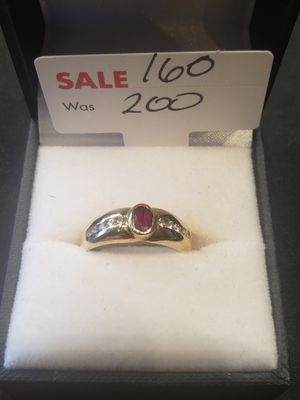 14K diamond ring with red stone size 6 for Sale in Pflugerville, TX