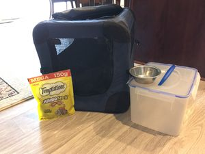 CAT CARRIER, FOOD BUCKET, and TREATS! for Sale in Ranson, WV
