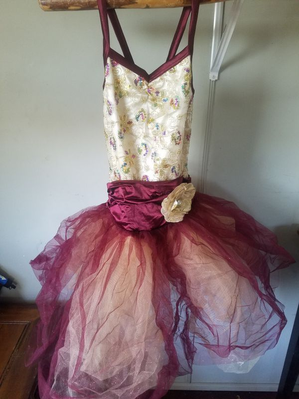 Adult Small Dancewear Tutu Dress Rainbow Sequin Maroon Quinceanera