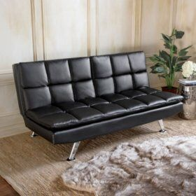 Black leather futon with power plugs
