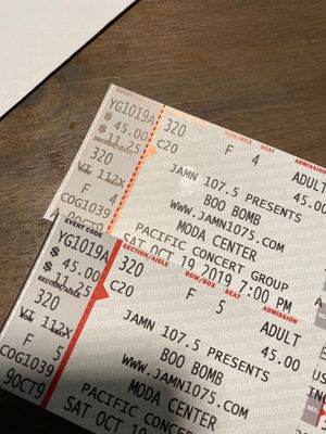 Boo boom tickets for Sale in Washougal, WA