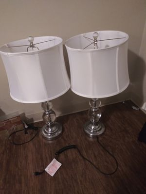 Pair 2 lamps with white shades for Sale in Columbus, OH