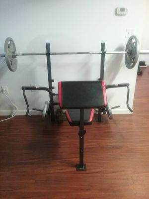 Weight bench with weights great condition used about 3 times for Sale in New York, NY