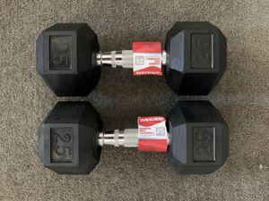 Brand New Rubber Hex 25 LB Dumbbell Set for Sale in Arlington, VA