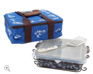 Temp-tations Floral Lace 3-qt Square Baker With Tote & Server for Sale in Boca Raton, FL