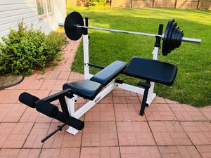 Olympic Bench - Olympic Bar - Weights - Bench Press - Work Out - Exercise - Gym Equipment for Sale in Woodridge, IL