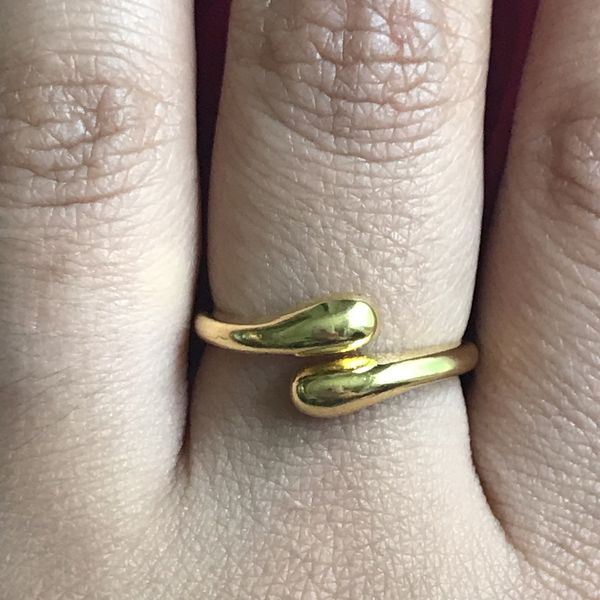 Gold plated water drop ring women's jewelry accessory