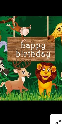 7x5ft Jungle Safari Themed animals BACKDROP 1st Birthday party baby shower banner photo backdrop for Sale in Marlin,  TX