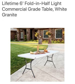 4 Lifetime 6' Fold-In-Half Light comercial grade tables for Sale in Corona, CA