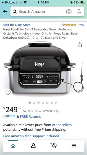 Brand new in box ninja air fryer grill baking oven toaster roaster with temp probe for Sale in Los Angeles, CA