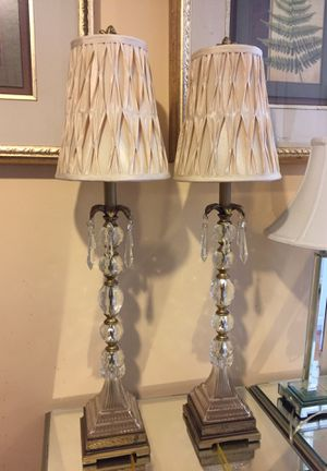 Crystal lamps with beige shade for Sale in Bowie, MD