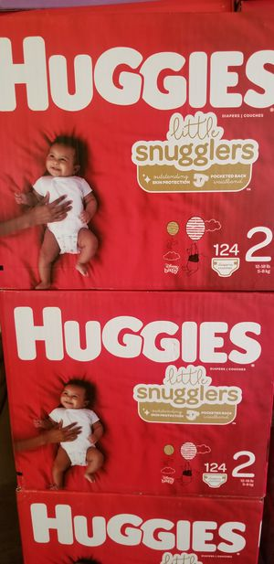 Huggies little snugglers size 2 124 daipers $28 each box firm price for Sale in Los Angeles, CA