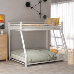 B2-124 Metal Floor Twin Over Full Bunk Bed, White 🐚. NEW. for Sale in Austin,  TX