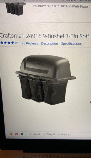 Craftsman 24916 9-bushel 3-bin soft bagger for Sale in West Linn, OR