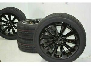 "19"" Tesla Model S Slipstream Factory OEM Black Wheels Rims Tires Gloss Black for Sale in Solana Beach, CA"