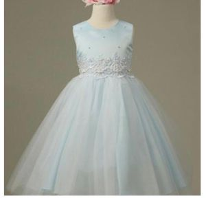 Flower Girl Dress Pearl and Lace Embellished Tulle Dress Light Blue Party Dress Special Occasion Dress for Sale in Salt Lake City, UT