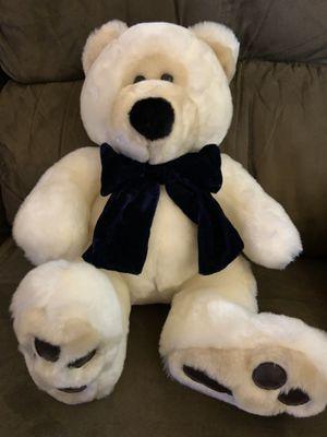 Teddy Bear with blue velvet ribbon for Sale in Virginia Beach, VA