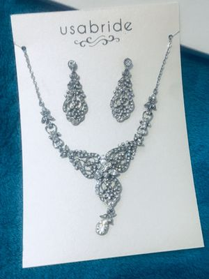 USA BRIDAL SULVER DIAMONDS NECKLACE EARINGS set NIB Wedding Jewelry NEW for Sale in West Jordan, UT
