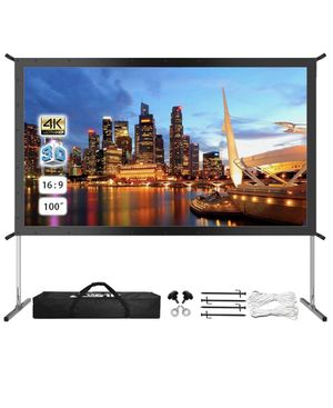 "JWST Projector Screen with Stand, 100"" 4K HD Outdoor/Indoor Portable Projector Screen 16:9 Foldable Camping for Sale in El Monte, CA"