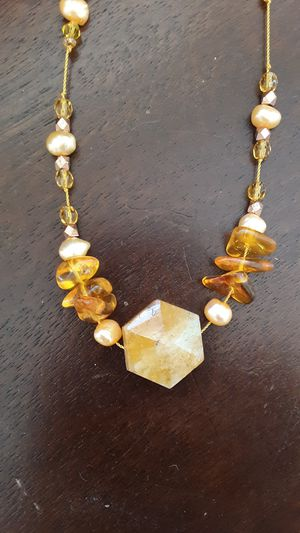 Citrine, copper, amber and glass beaded necklace for Sale in Auburn, CA