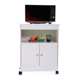 Lowestbest Kitchen Cabinet for Home, Wooden Rolling Kitchen Cart, White Kitchen Carts and Islands, Modern Large Open Shelf Cabinet Microwave Cart Stor for Sale in Houston,  TX