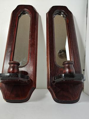 "TWO WOOD CANDLE HOLDERS 18"" INCH TALL WITH MIRRORS for Sale in Hesperia, CA"