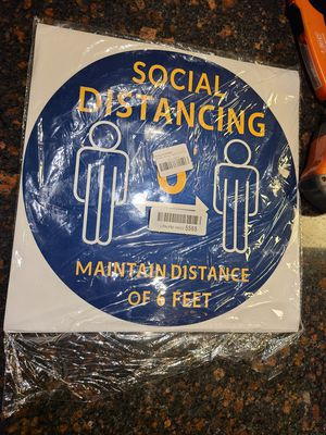 """Pack of 10 Social Distancing Floor Decals, 12"""" Round Maintain 6 FT Distance Anti-Slip Waterproof Floor Safety Sign Stickers Blue for Sale in Las Vegas, NV"""