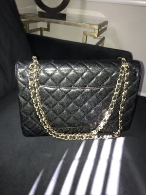 Black Caviar leather flap handbag. With box and duster bag for Sale in Decatur, GA